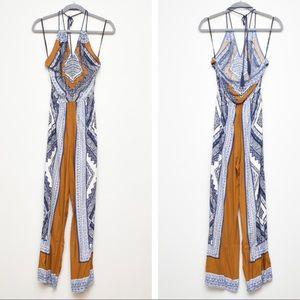 Forever 21 Boho Blue & Rust Print Halter Jumpsuit